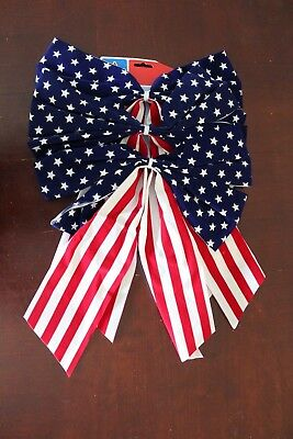 3 Pack Stars and Stripes Fourth of July American Flag Four Loop Bow Decoration