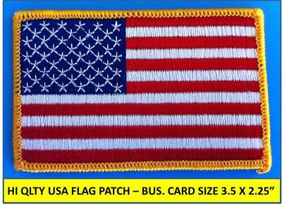 USA AMERICAN FLAG EMBROIDERED PATCH IRON-ON SEW-ON GOLD BORDER 3½ x 2¼
