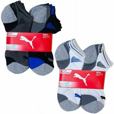 Puma Mens No Show Socks 8-pair Multi or White All Sizes