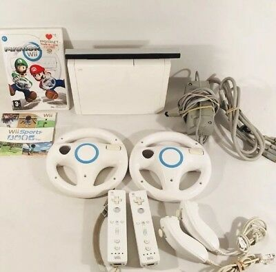 Nintendo Wii White Console System Mario Kart Bundle Wii Sports 2 Controllers Lot