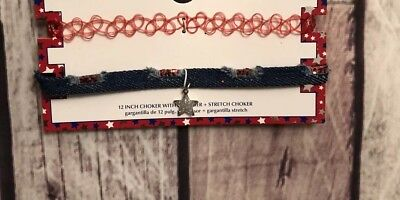 Fourth Of July Chokers One Denim with star and one stretchy red-