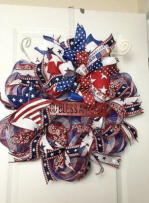 Handmade 4th of July red white blue patriotic decor Independence Day