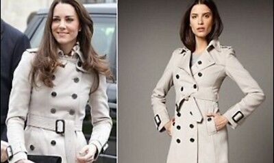 BURBERRY Double Breasted Coat Size 4 Navy As seen on Kate Middleton