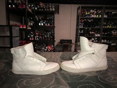Supra Skytop Mens Leather Athletic Skateboarding Shoes Size 10 White