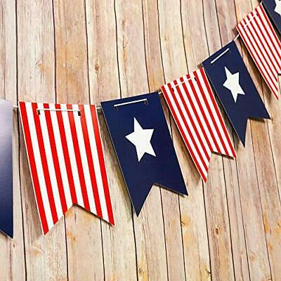 4th of July Red White and Blue Guidon Flag Pennant Banner Garland 11FT