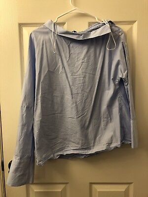 Zara Top-Blue-Fashion-Trendy-Small-TRF-Bell Sleeve-Blouse