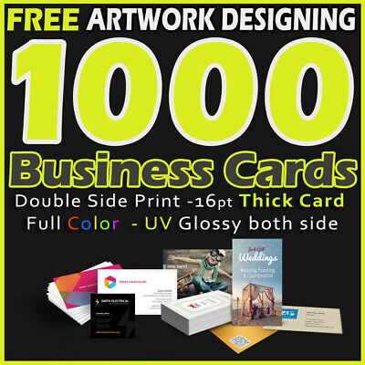 1000 Business Cards Full Color 2 Side Printing UV Coated-Free Design - Shipping
