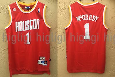 NWT Tracy McGrady 1 NBA Houston Rockets Swingman Throwback Jersey Man Red