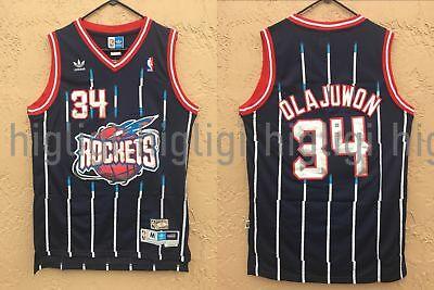 NWT Hakeem Olajuwon 34 NBA Houston Rockets Swingman Throwback Jersey Man