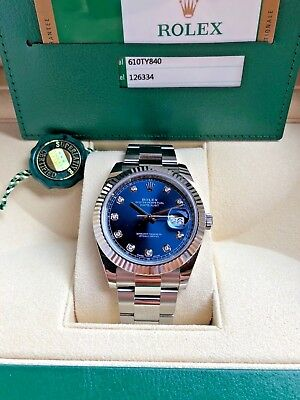 Rolex Mens 41mm Datejust II 126334 Stainless Steel Blue with Diamond Dial