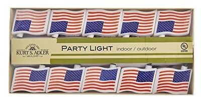 Kurt Adler 3 Sets 10 String Lights USA Flag Indoor Outdoor 4th of July Decor