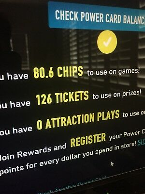 Dave and Busters Power Card - 80-6 Chips