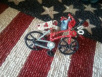 Pier 1 4th of July Summer  Bicycle Patriotic Beaded Napkin Ring-one 1