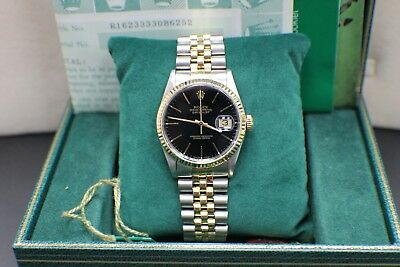 Rolex Datejust 16233 Black Dial 18K Yellow Gold - Stainless Steel Box - Papers