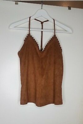 Zara Terracotta Strappy Faux Suede like Small Top