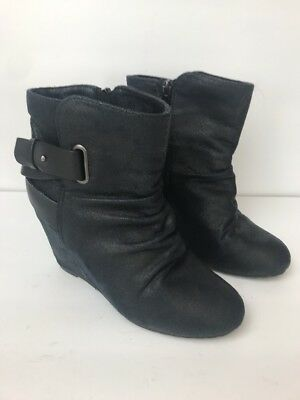 Aldo Womens Ankle Bootie Size 8 Black Leather Wedge Straps Zip