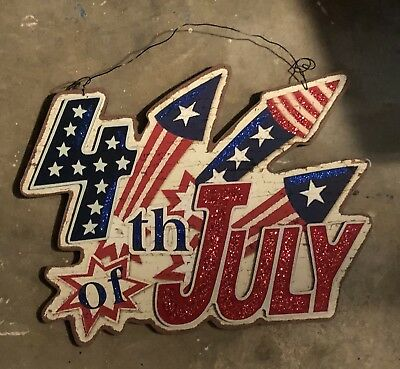 Patriotic 4th of July Hanging HAPPY 4TH OF JULY  Wall Door Sign Decor