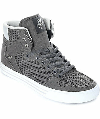 New Supra Vaider Grey - White Canvas Knit Skate Shoes Mens Sz 10