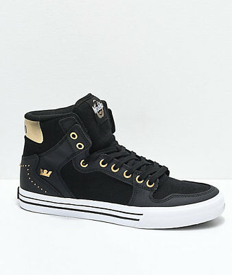 New Supra x Modelo Vaider Negra Black Gold - White Skate Shoes Mens Sz  9-5