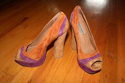 Used and Worn Steve Madden Gaayle Open Toe Platform Chunky Heels  Pumps Sz 7-5