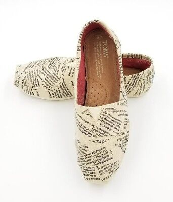 New Authentic TOMS Dictionary Quotes Womens Classics Canvas Shoes-USA SELLER