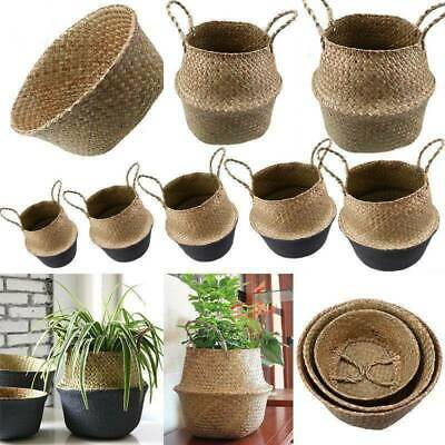 Foldable Seagrass Woven Belly Basket Flower Planter Pot Laundry Storage Skep Box