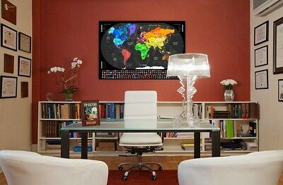 Large World Map Scratch Off Poster - Travel Track Wall Décor - Ships From USA