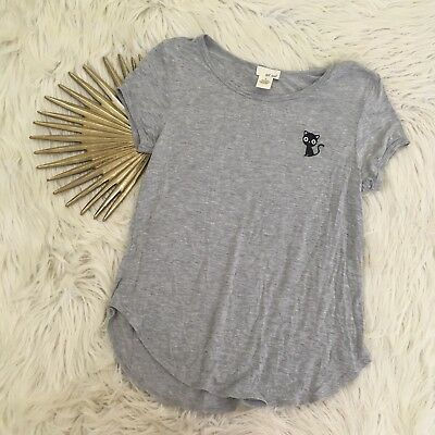 Wet Seal Womens Small Black Cat T-Shirt Grey Short Sleeve Embroidered Knit Top