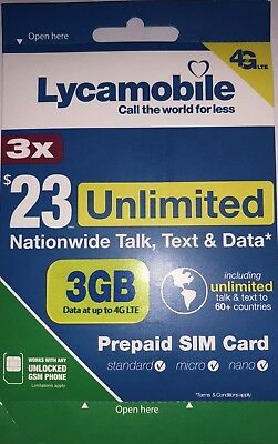 LYCAMOBILE Preloaded sim Card 23x3 Months with 3GB data and Unlimited Calls