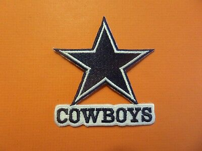 DALLAS COWBOYS SILVER - BLUE EMBROIDERED IRON ON PATCHES  2-34 X 3