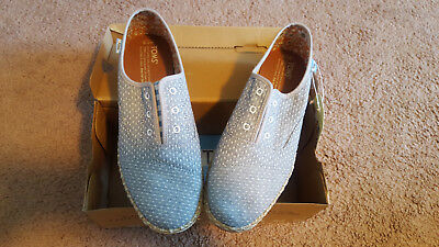 Toms Palmera Chambray Dot Espadrille Slip On Shoe Flats 7-5 New In Box