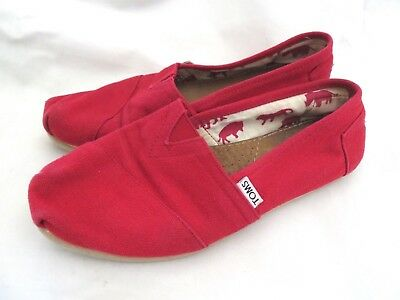 Womens TOMS Red Classic Ballet Flats Slip On Canvas Shoes Size 6-5