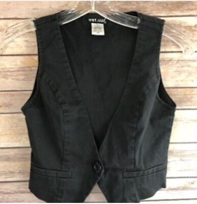 Wet Seal Womens Vest Black One Button Front Pockets Cropped Size XS