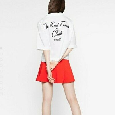 Zara Real Friends Club Top Blouse Sz S Embroidered Blogger Trendy Topshop Tumblr