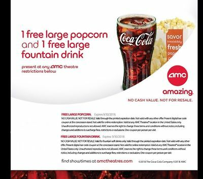AMC Theatres - 1 Large Popcorn - 1 Large Drink - Expires 93018 - Fast Delivery