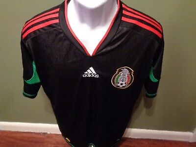 ADIDAS CLIMACOOL Mexico 2010 World Cup Futbol Soccer Jersey Black Mens MEDIUM