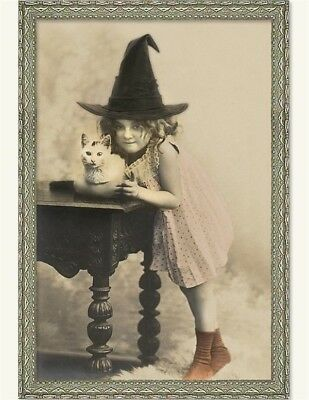 Victorian Trading Co Halloween Witch w Cat Unframed French Tintype Print