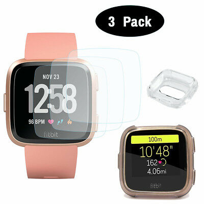 3x Tempered Hard Glass Screen Protector-Soft TPU Case For Fitbit Versa SmartBand