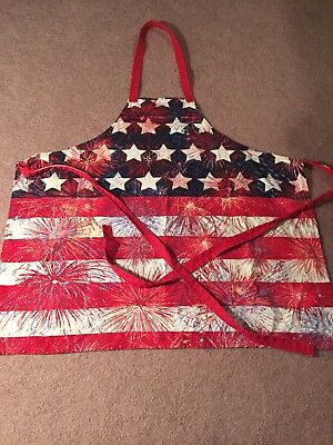 Apron Patroitic Fourth Of July Fireworks Red White Blue GUC Tie Back