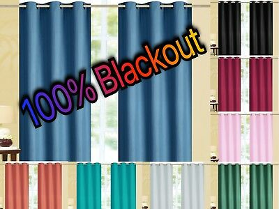 Kendal 100 BLACKOUT Foam Back Window Curtain Set - Two Panels All Size  Colors