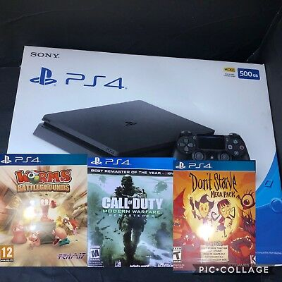 NEW Sony PlayStation 4 Slim 500GB Gaming Console - Black PS4 BUNDLE Call Of Duty