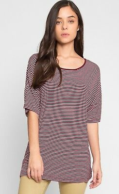 Wet Seal QUEST OVERSIZED STRIPE TEE IN BURGUNDY Womens Girls Size Small T Shirt