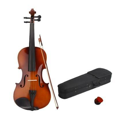 Natural Basswood Full Size 44 Acoustic Violin Set with Case - Bow - Rosin