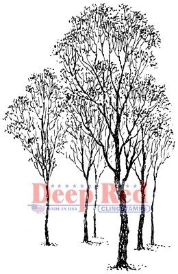 Deep Red Stamps Winter Trees Rubber Cling Stamp