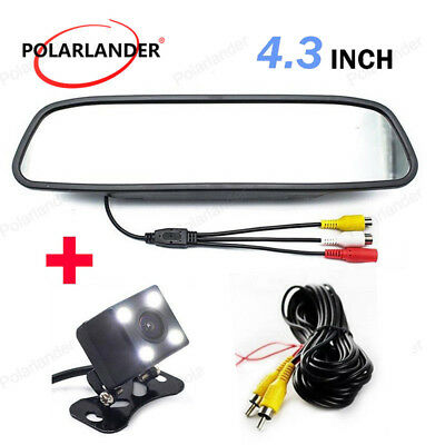 "4.3""  Car Parking Monitor 4 LED Rear View Camera  Night Vision Glass Lens CCD"
