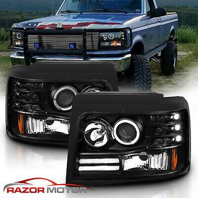 1992-1996 Projector Black Headlight for Ford BroncoF150F250F350 LED Halo