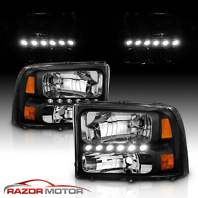 1999-2004  Black Headlight for Ford F250F350 Superduty Excursion LED DRL