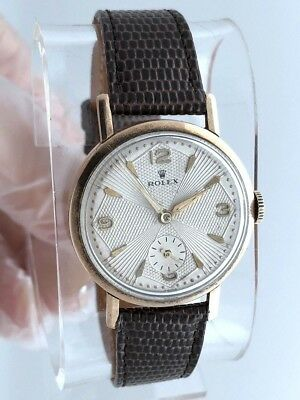 Rare 1940s Rolex Solid Rose Gold 9K -375 Case by RWC 32mm 15 Jewels RUNS