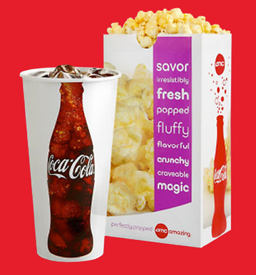 Qty 5 AMC 1 Large POPCORN - 1 Large DRINK Expire 06302020 In Black And White