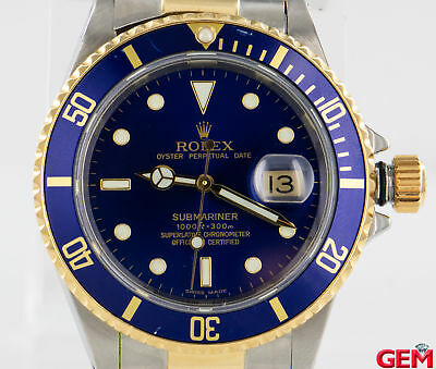 Rolex Submariner 16613 42mm Steel 18k 750 Yellow Gold Watch Parts As Is